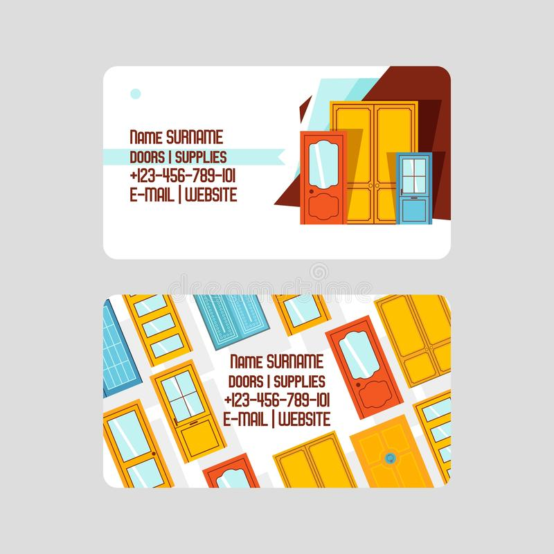 Front doors for houses and buildings set of business cards vector illustration. Interior wooden, glass, metal door of. Various forms. Buying accessories royalty free illustration