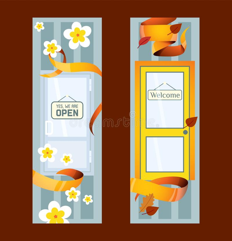 Front doors to houses and buildings set of banners in flat design vector illustration. Interior wooden, glass door of. Front doors to house and building set of vector illustration