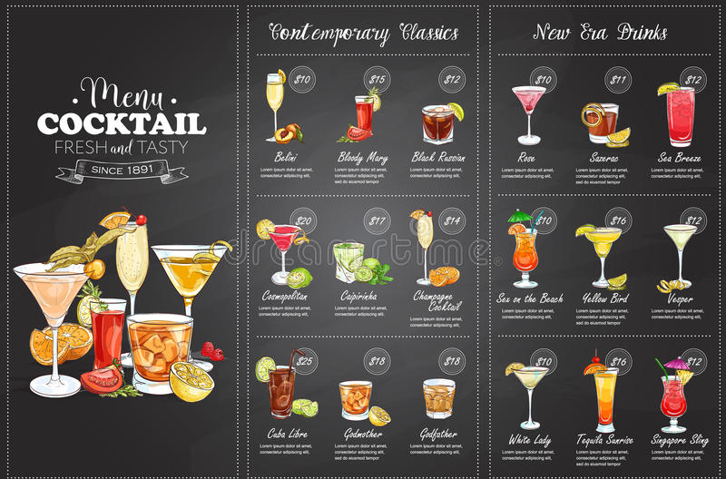 Front Drawing horisontal cocktail menu design royalty free stock images