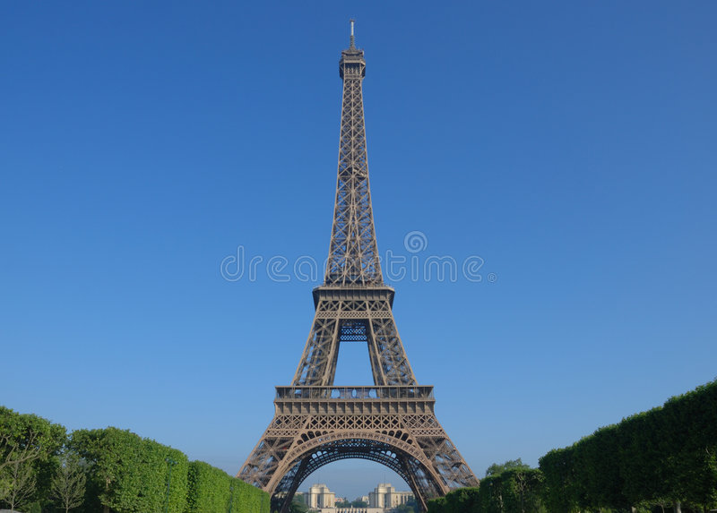 In front of the eiffel tower royalty free stock photo