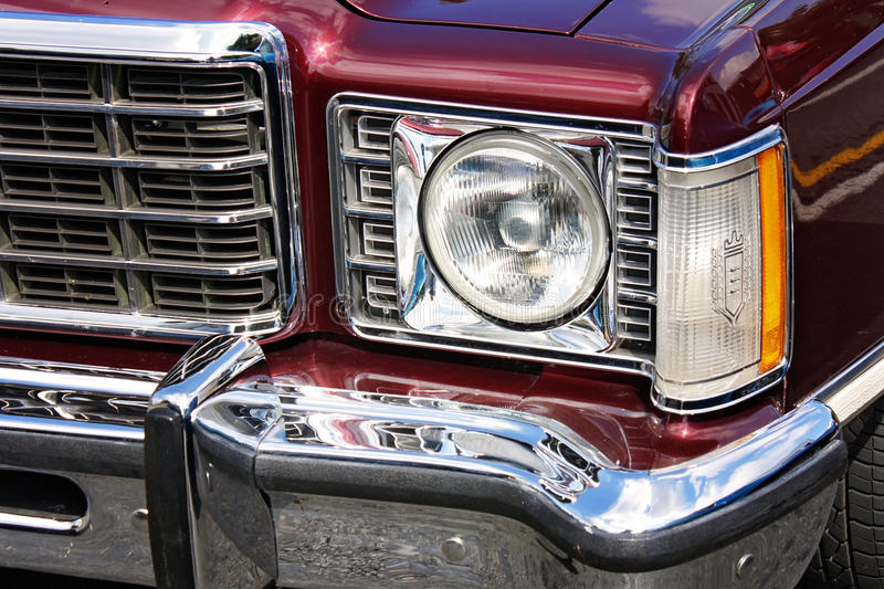 Front end of classic car. Close up front end of classic car stock photo
