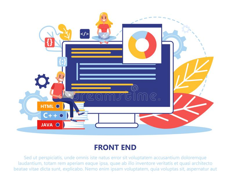 Front end development concept. Programming and coding stock illustration