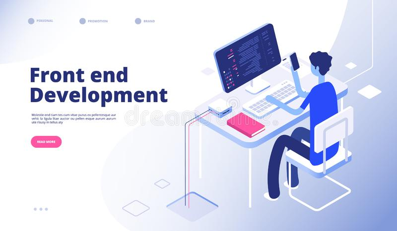 Front end development. Developer programmer person develop computer phone website interface dashboard futuristic landing stock illustration