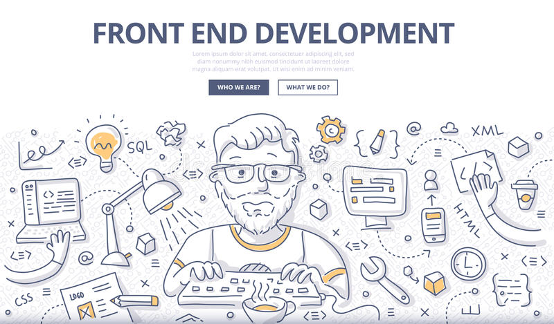 Front End Development Doodle Concept illustration libre de droits