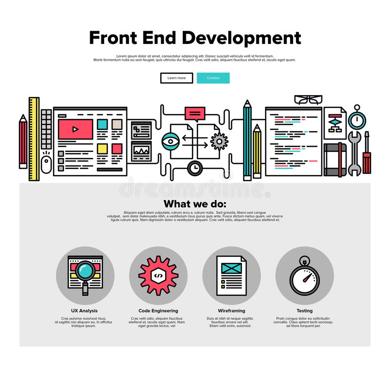 Front end development flat line web graphics royalty free illustration