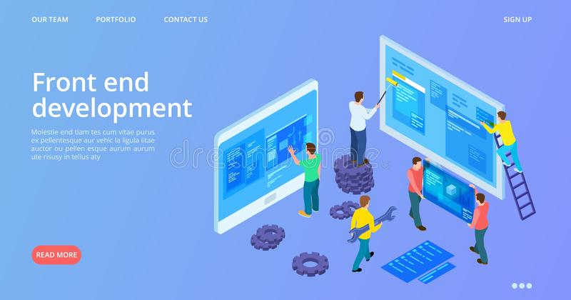 Front end development. Isometric interface development landing page. Vector site construction, web design banner royalty free illustration