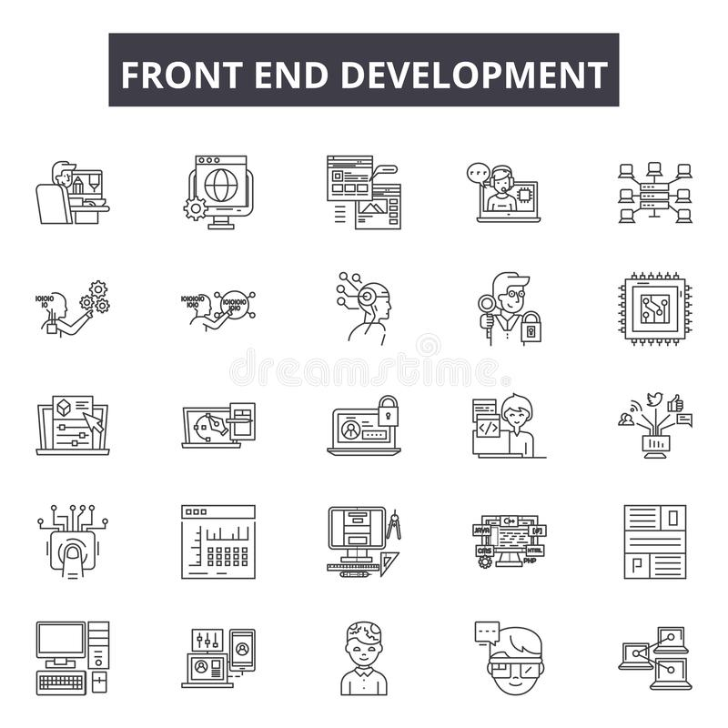 Front end development line icons, signs, vector set, outline illustration concept stock illustration