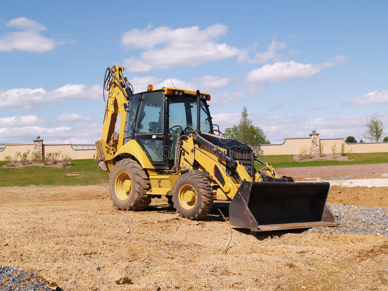 Front end loader at a construction site stock images