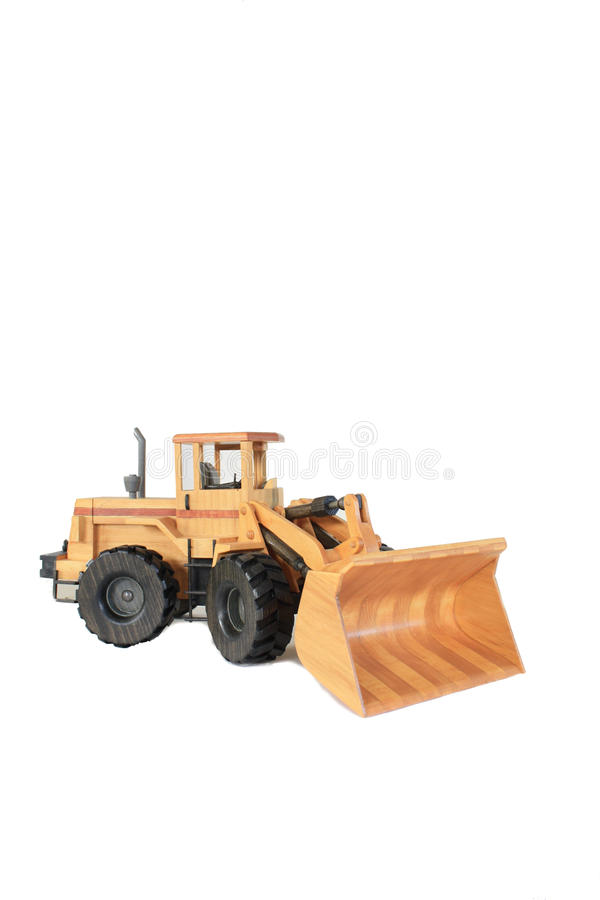 Front End Loader on White. A wooden model of a front end loader isolated on a white background royalty free stock photo