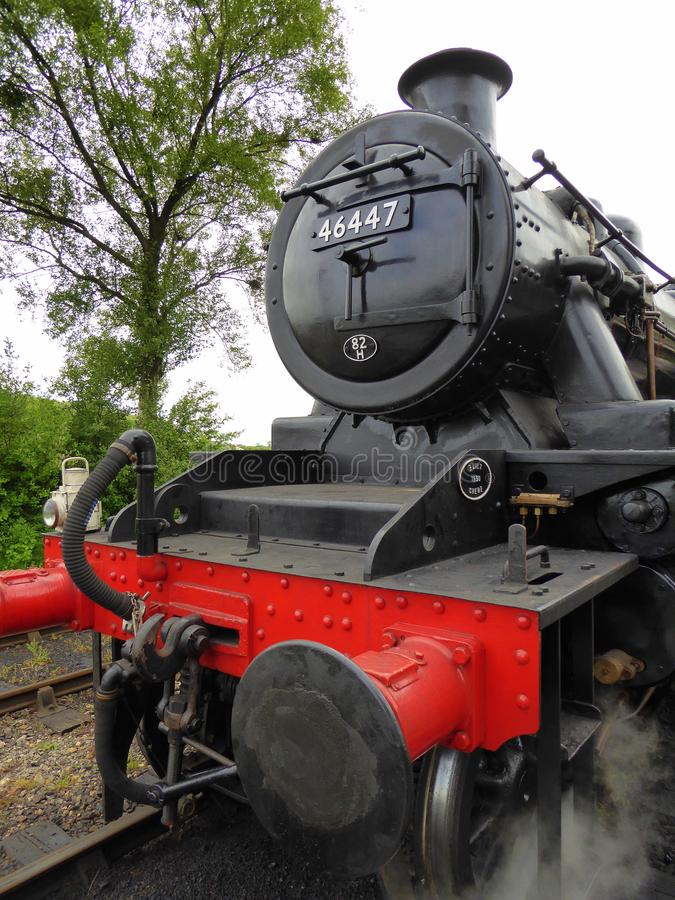 Front end of restored steam locomotive stock photos