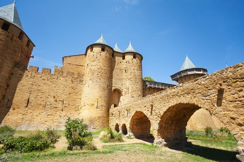 Front entrance of Count`s Castle in Carcassonne stock photography
