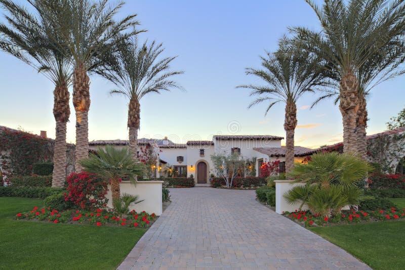 Front entrance façade of luxury villa royalty free stock photos