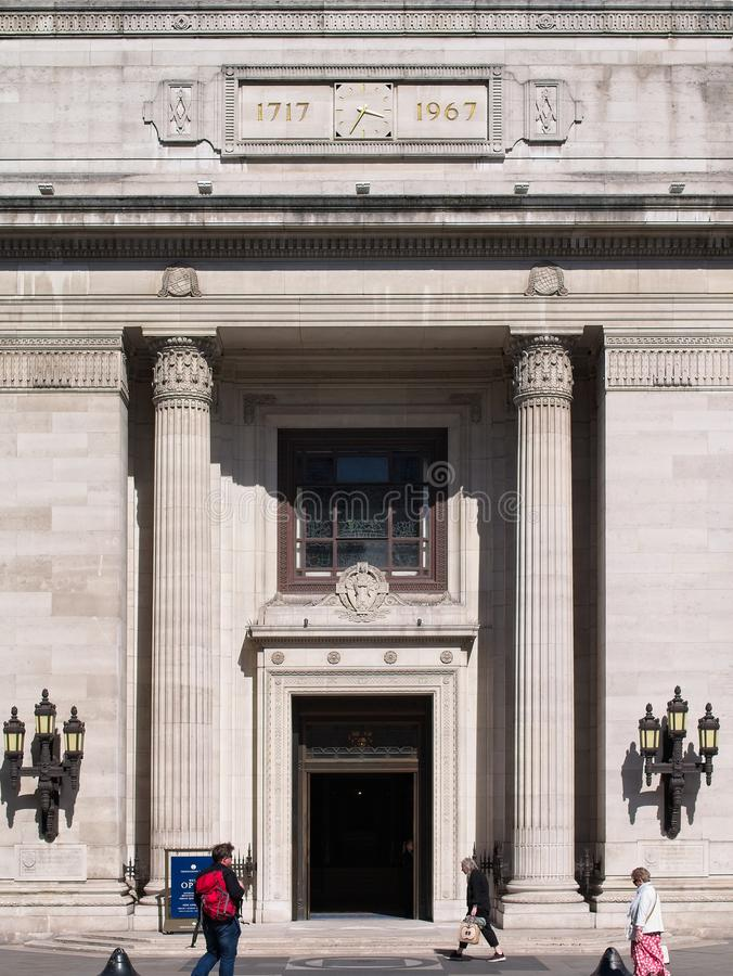Front entrance of Freemasons Hall royalty free stock images