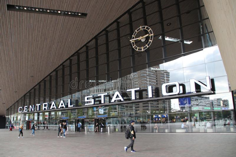 Front entrance of the international train station Rotterdam Centraal, the central station in Rotterdam in the Netherlands stock photography