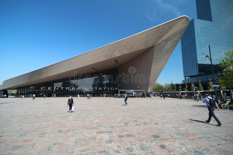 Front entrance of the international train station of Rotterdam named Centraal station in wide angle stock images