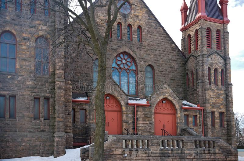 Front Entrance of Landmark Church in Minneapolis royalty free stock photography