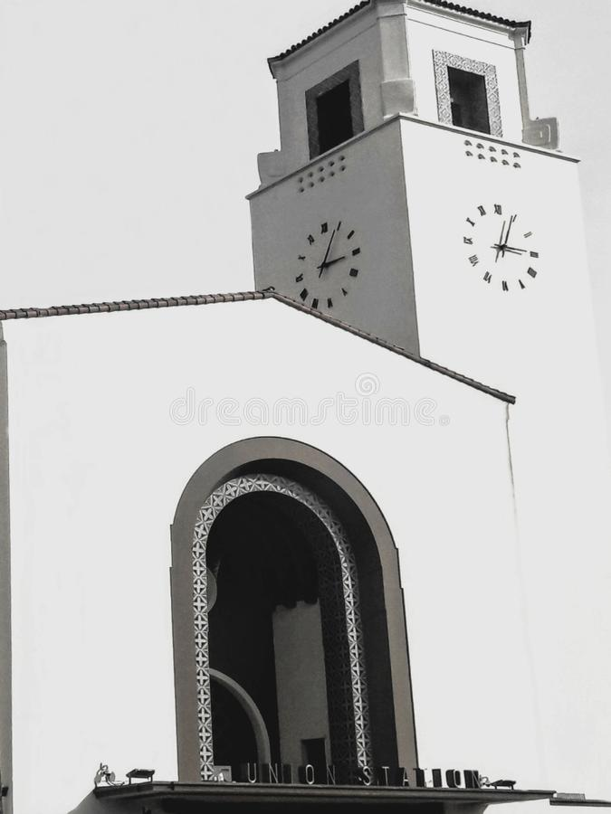 Front Entrance of the Los Angeles Union Station in Black and White stock image