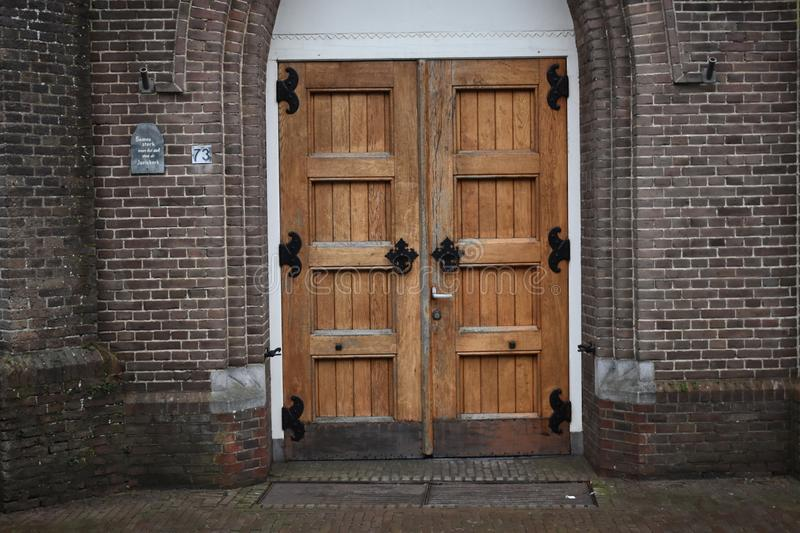 Front entrance of a church stock images