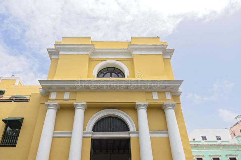 Front Entry of Landmark Building in Old San Juan. Landmark building front entrance of spanish colonial architecture in old san juan royalty free stock image