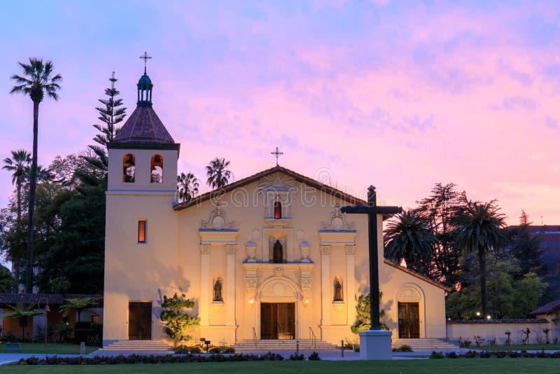 Exterior of Church of Mission Santa Clara de Asis. The front façade of Mission Santa Clara, student chapel of Santa Clara University. Mission Santa Clara de stock images