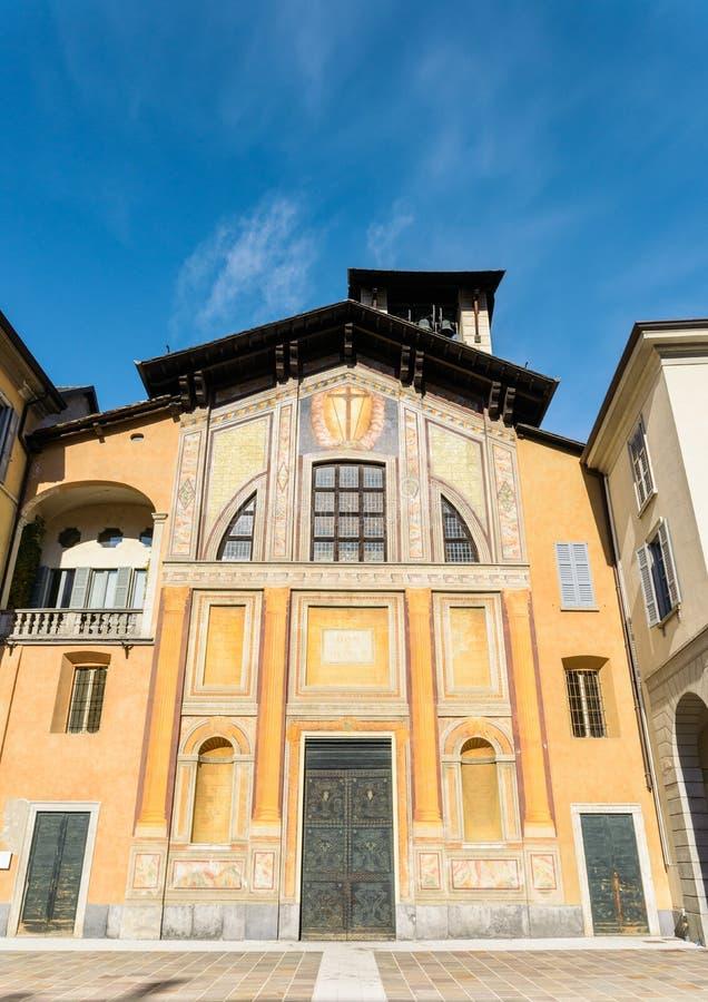 Front facade of the Basilica di San Giacomo in Como, Italy royalty free stock photos
