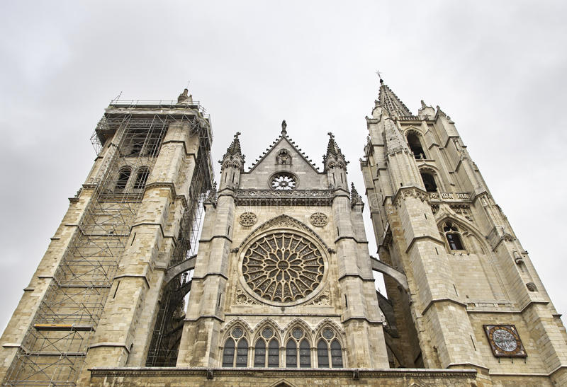 Front Facade Of The Cathedral Of Leon Royalty Free Stock Images