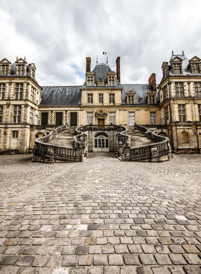 Front Facade Of Fontainebleau Palace, France Royalty Free Stock Photography