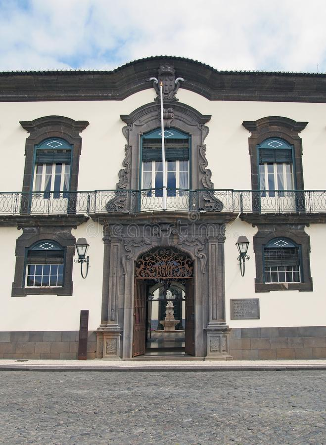 The front facade of funchal city hall in madeira a historic building built in the 18th century as a private residence.  stock images