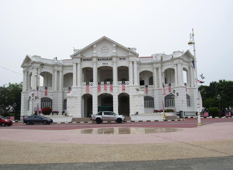 Ipoh Town Hall Building. Front facade of the Ipoh Town Hall building, decorated with Malaysian flags stock images