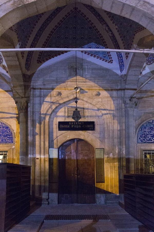 Front facade of Ketendji Omer Pasha Mosque at dusk in Elmali, Antalya, Turkey, September 27th, 2018 royalty free stock photo