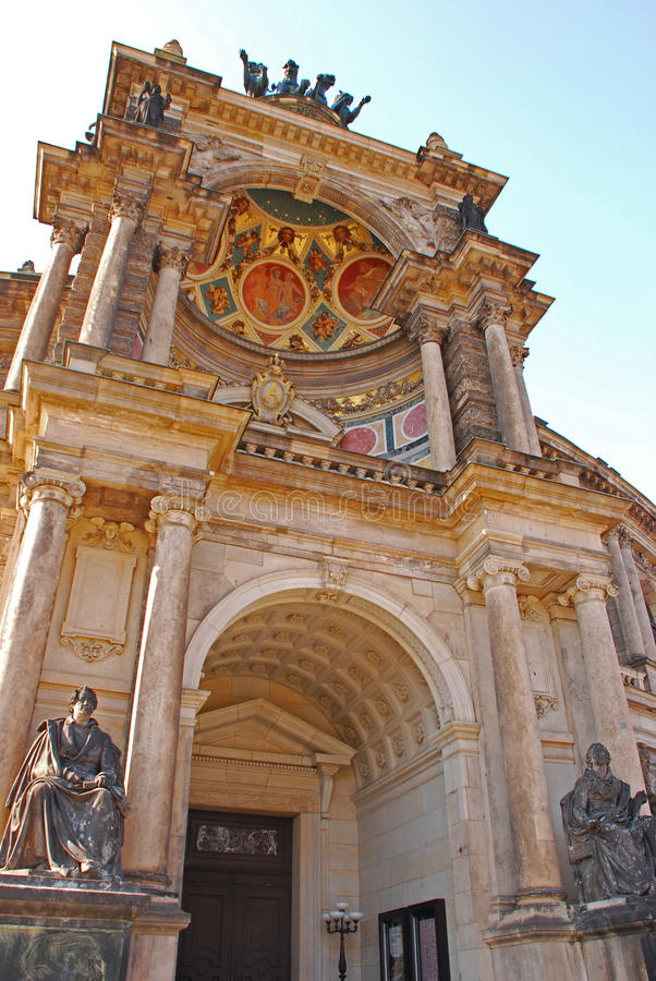 Front Facade of Opera House Semperoper stock photography