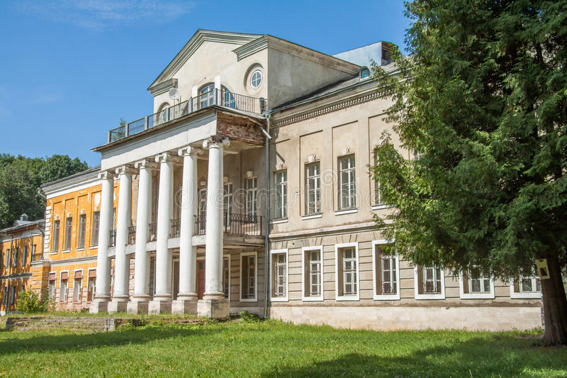 The front facade of the Palace in the manor Sukhanovo. In summer royalty free stock image
