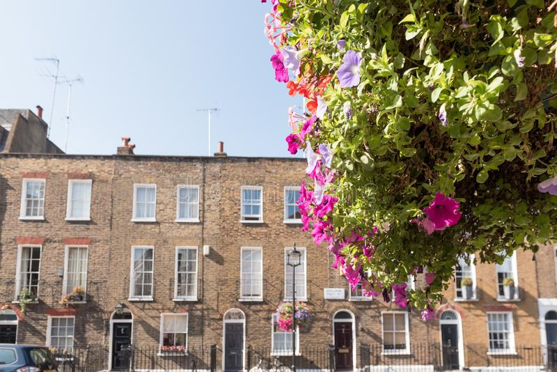 London Terrace Houses. Front facades and arched doors of historic brick London Terrace houses with tall windows and iron railing out front with a bicycle on the royalty free stock image