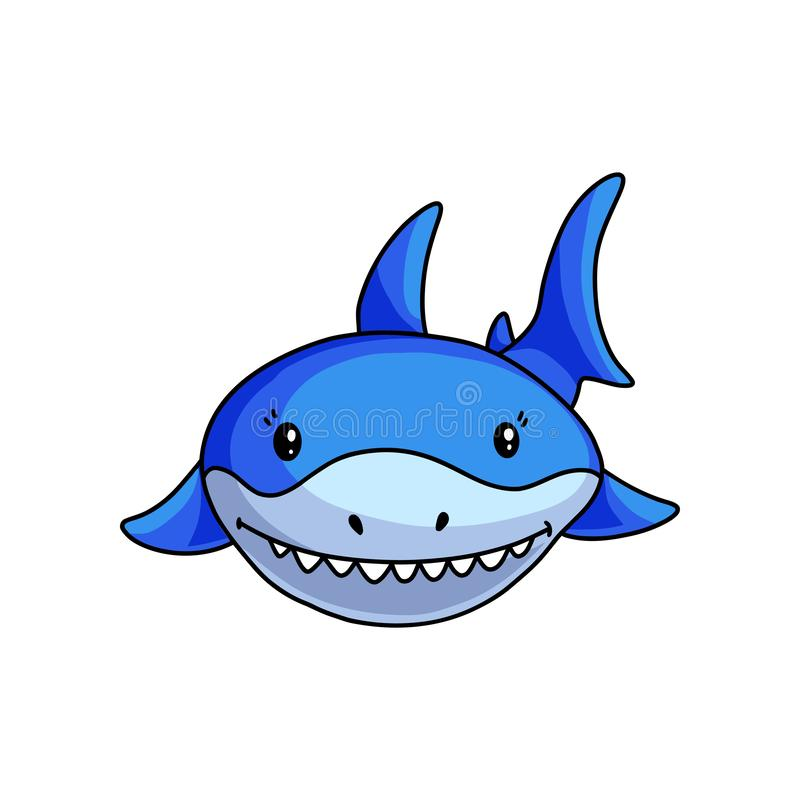Front face of blue shark that shows white teeths royalty free illustration