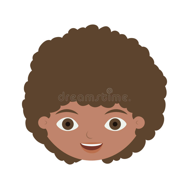 Front face child with curly hair. Vector illustration royalty free illustration