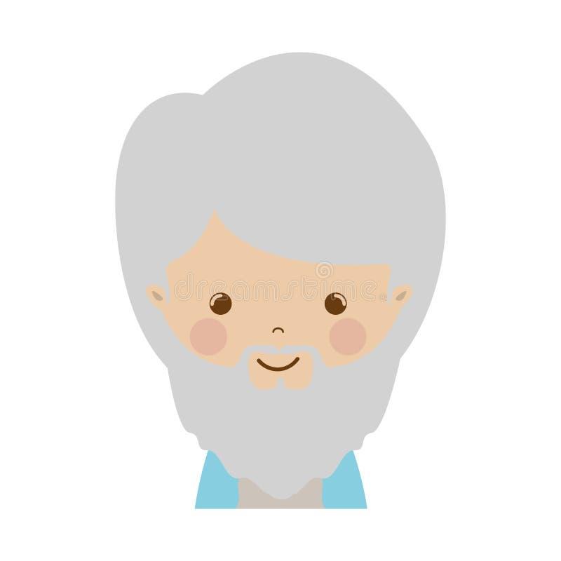 Front face wise man gaspar cartoon. Vector illustration vector illustration