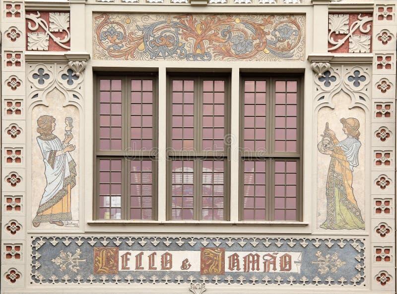 The front of the famous bookshop in Porto Livraria Lello stock image