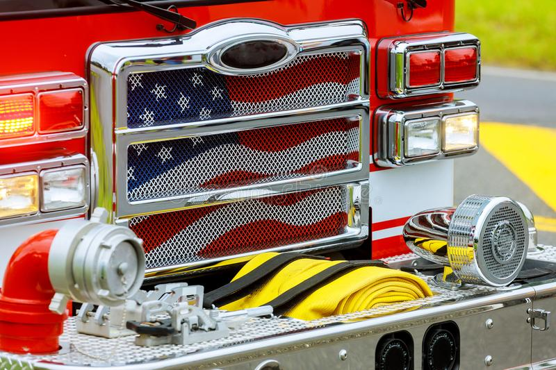 Front of the fire truck at the fire station. stock photography