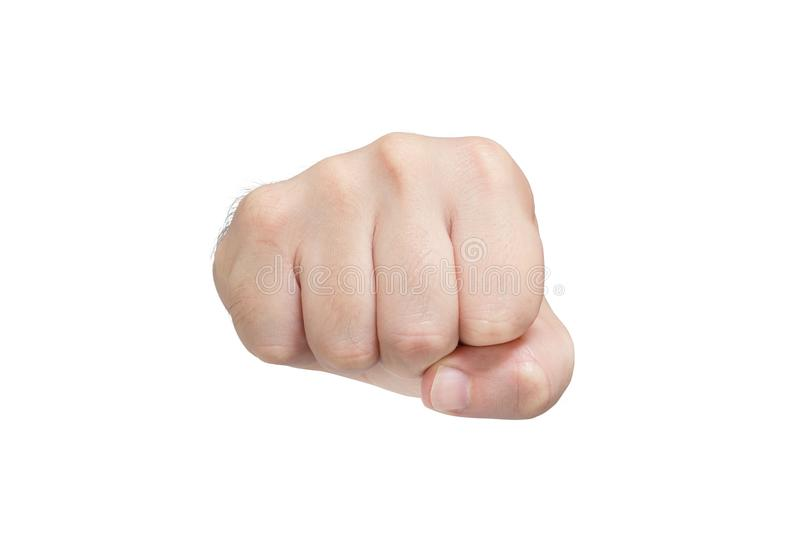 Front fist of man isolated on white background. Simbolic fight stock photography