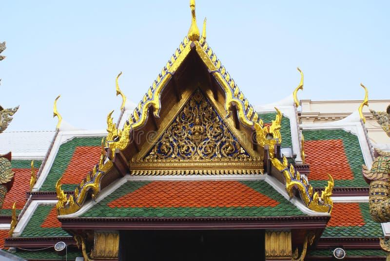 Front gable of Wat Phra Kaew, The Grand Palace, Bangkok, Thailand, Asia. Details of Wat Phra Kaew, The Grand Palace, Bangkok, Thailand, Asia stock images