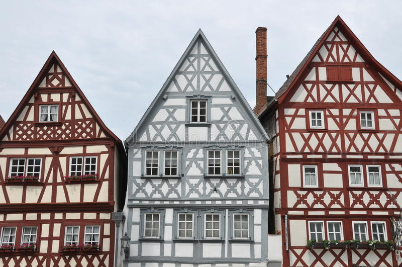 Front gables of half-timbered houses in Germany. Front gables ofTypically half-timbered houses in Ochsenfurt, Germany stock photography