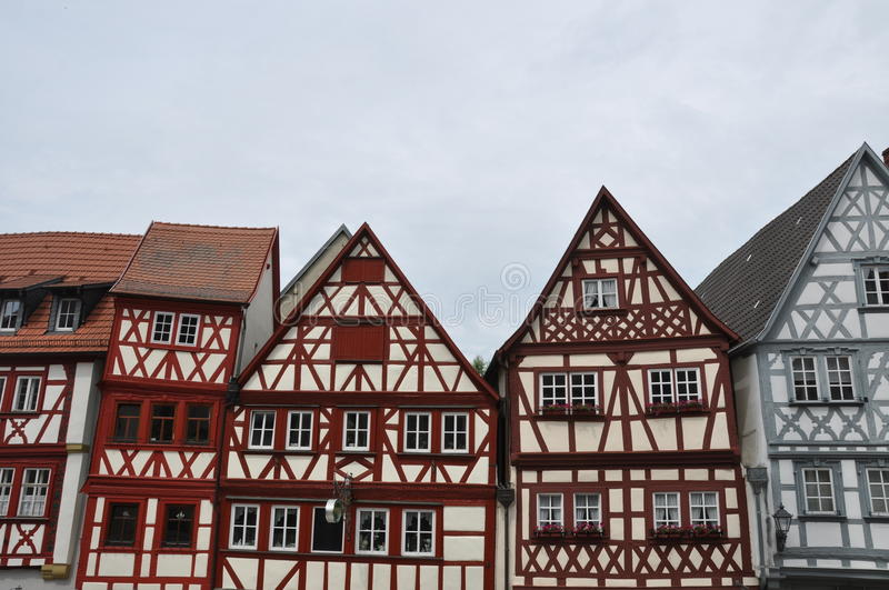 Front gables of half-timbered houses in Germany. Front gables ofTypically half-timbered houses in Ochsenfurt, Germany royalty free stock photography