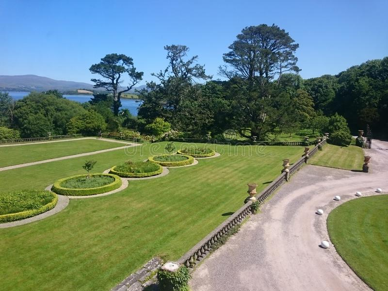 Front of the Bantry house and gardens, Bantry, West Cork Ireland. The front garden at the Bantry House, West County Cork Ireland royalty free stock images