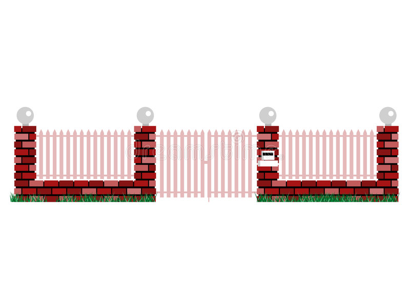 Front gate entrance. With locked gate royalty free illustration