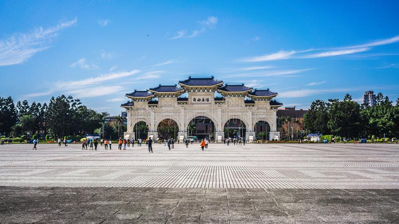 Front gate of national Chiang Kai-shek Memorial Hall in Taipei. Main gate of national Chiang Kai-shek Memorial Hall in Taipei Taiwan translation: freedom square stock photos