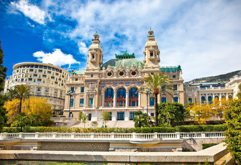 Front of the Grand Casino in Monte Carlo. Front of the Grand Casino in Monte Carlo, Monaco royalty free stock photography