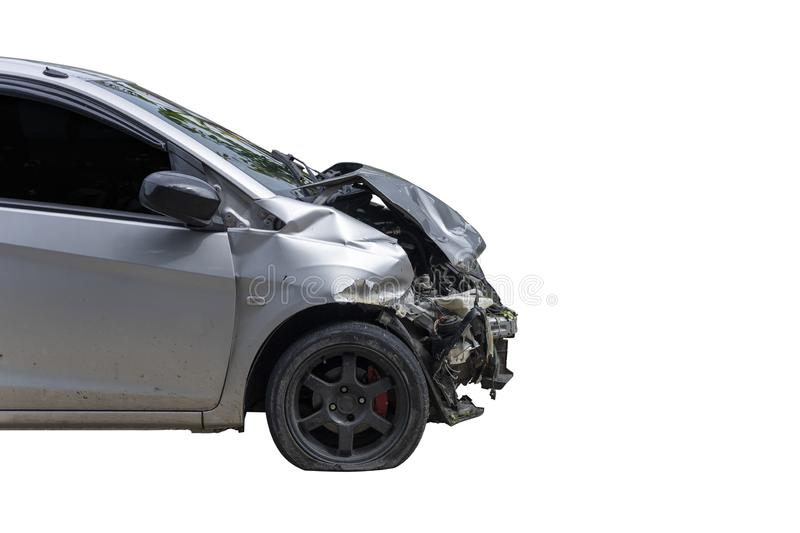 Front of gray color car damaged and broken by accident . Isolate on white background. Save with cliping path. Transportation concept. Front of gray color car royalty free stock photography