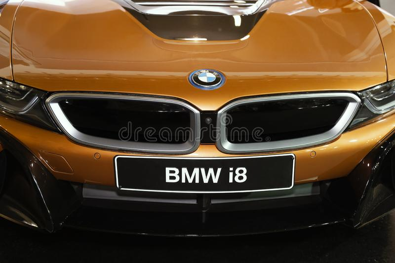 Front grill on BMW i8. BELGRADE, SERBIA - MARCH 26, 2018: Front grill on BMW i8, full front face mask kit and radiator with motor company badge stock images