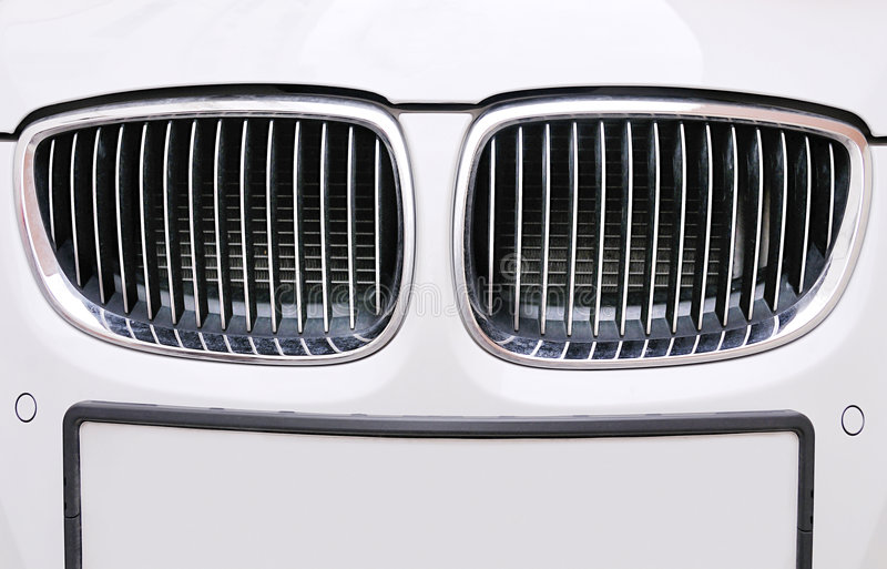 Front Grill Of BMW White Car Stock Photos