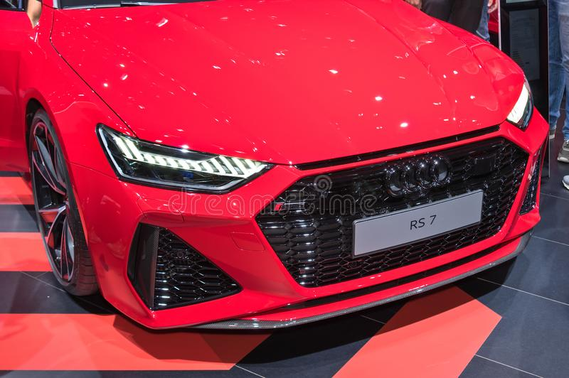 Front grill and lights of Audi RS7 stock image